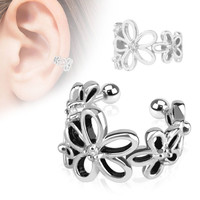 Flower Wrapture - Flower circle white cubic zirconia rhodium plated brass non piercing ear cuff