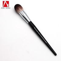 Professional Black Long Wood Handle Velvet Touch Feeling Synthetic Fiber 90 Pro Feather Weight Complexion Tapered Makeup Brushes