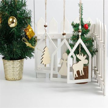 Wooden Hollow Christmas Tree Angel With Elk Crafts Christmas Decorations For Home Christmas Tree Ornament Hanging Pendant
