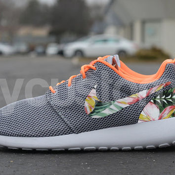Nike Roshe Run Grey Orange Island Floral Print Custom