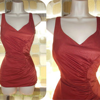 Vintage 60s 70s Shimmering Copper Ruched One Piece Pin-Up Swimsuit 15/16 XL/1X Plus Size Robby Len
