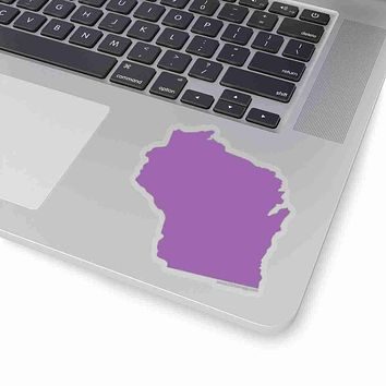Wisconsin State Shape Sticker PURPLE