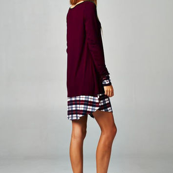 A Touch of Plaid Tunic Dress - Burgundy