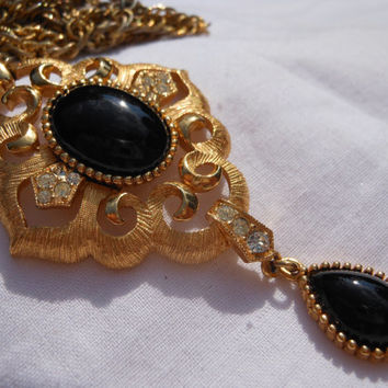 Crown Trifari Dangle Pendant 1960s 3 inches Tear Drop Oval Black Glass Cabochons Creamy Gold Tone Open Carved Filigree Clear Rhinestones