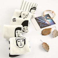 Women's Faces Printed Socks Cotton