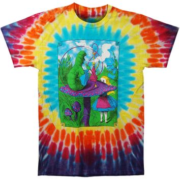 Alice In Wonderland Men's  Alice With Caterpillar Tie Dye T-shirt Multi