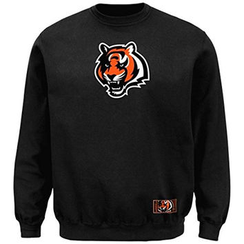 Cincinnati Bengals Majestic Classic Heavyweight VI Pullover Crew Sweater Charcoal Big and Tall Sizes