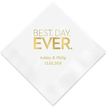Best Day Ever- Block Style Printed Paper Napkins (Sets of 80-100)
