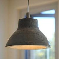 Concrete Pendant Light: Round Top