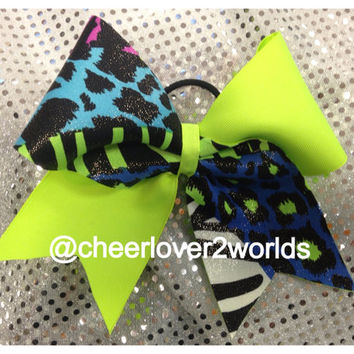 Cheer Bow - Neon Green Zebra Shiny Cheerleading Dance Ribbon