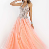 Halter Deep V-Neckline Ball Gown Pink By Blush Prom 5303