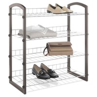 Whitmor 4-Tier Shoe Rack Faux Leather with Wire Shelves