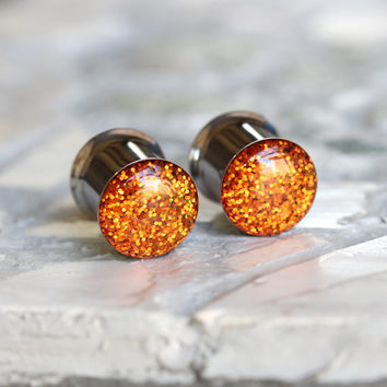 Orange Glitter Gauges, Sparkly Orange Plugs, Single Flare, Double Flare - size 4g, 2g, 0g, 00, 7/16, 1/2, 9/16, 5/8, 3/4, 7/8, 1""