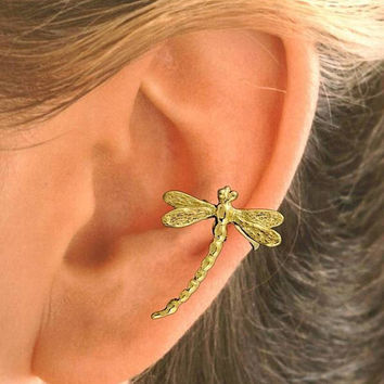 Dragonfly Ear Cuff Gold Vermeil - SINGLE