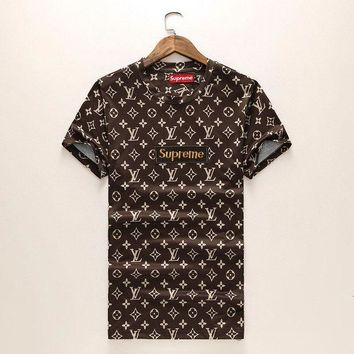 DCKI72 Trendsetter LV x Supreme Women Men Casual Sport T-Shirt Top Tee