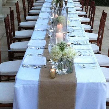 Wedding Burlap Table Runners 12 x 96 - Set of 8 Wedding Table Runners