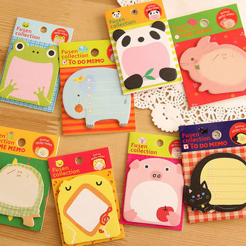 New Cartoon Cute Animal Panda Elephant Creativity Self-adhesive Memo Pad Sticky Notes Bookmark Pepsi Stick School Office Supply