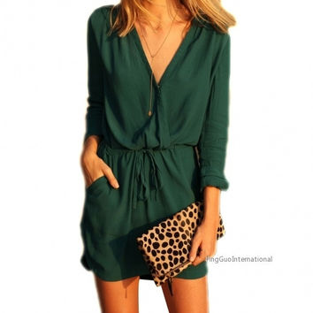 Sexy Women V Neck Long Sleeve Drawstring Pockets Loose Mini Chiffon Dress = 1838538564