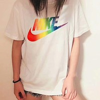 NIKE female fashion trend colorful rainbow new short-sleeved F-A-BM-YSHY white