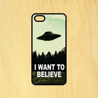 I Want to Believe UFO Aliens Phone Case iPhone 4 / 4s / 5 / 5s / 5c /6 / 6s /6+ Apple Samsung Galaxy S3 / S4 / S5 / S6