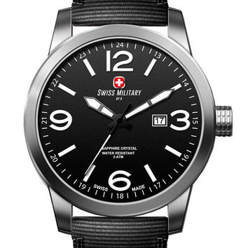 Swiss Military by R 50504 3 N Sniper Men's Watch Black Nylon Strap Black Dial