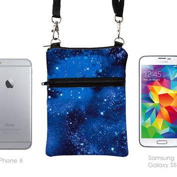 iPhone 6 5 Zipper Sling Bag, Samsung Galaxy S5 Crossbody, Smartphone Purse, Cell Phone Purse, Small Cross Body Bag  - night sky with stars