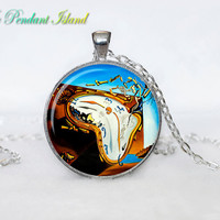 SALVADOR DALI PENDANT  Soft Watch at the Moment of Explosion Necklace for him  Art Gifts for Her