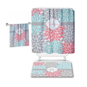 Aqua Coral Gray SHOWER CURTAIN, Flower Petals, Custom MONOGRAM Personalized, Floral Bathroom Decor, Bath Towel, Plush Bath Mat