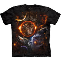 The Mountain COSMIC WOLVES T-Shirt S-3XL Howling Space Wolf Tee NEW!