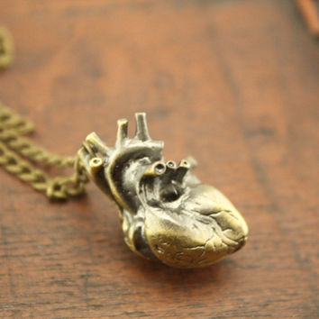 cute gift antique bronze heart necklace steampunk Cardiac Arrest jewelry