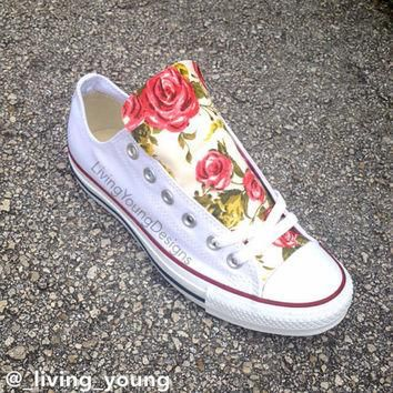 Roses Floral Converse Shoes / Custom Floral Chuck Taylors