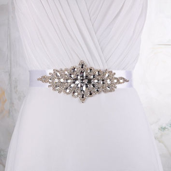 Handmade Beaded Sash Belt Wedding Dress Sash Crystal Faux Pearl Bridal Sash/Belt S01 = 1932038212