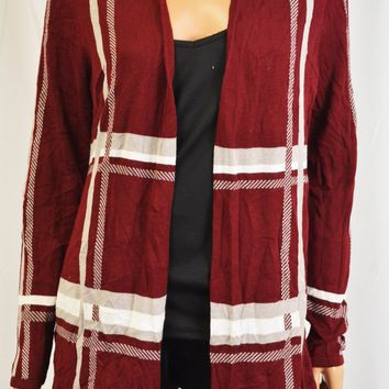 Charter Club Women's Red Lightweight Plaid Open-Front Cardigan M