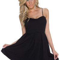 Black Spaghetti Straps Mini Skater Dress