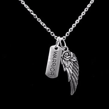 Inspirational Warrior Angel Wing Gift Survivor Guardian Angel Necklace
