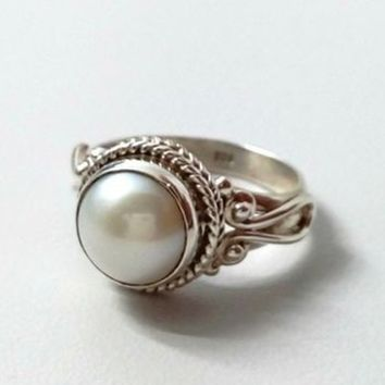 Fresh Water Pearl Ring .925 Sterling Silver Handmade  Rope Twisted Band
