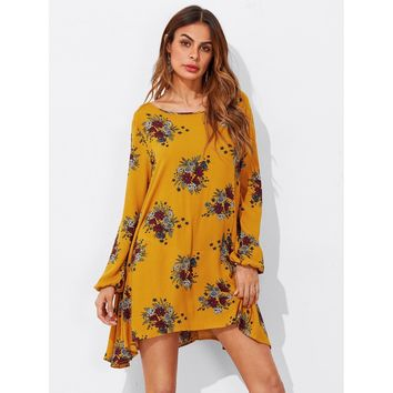 Floral Print Hanky Hem Shift Dress