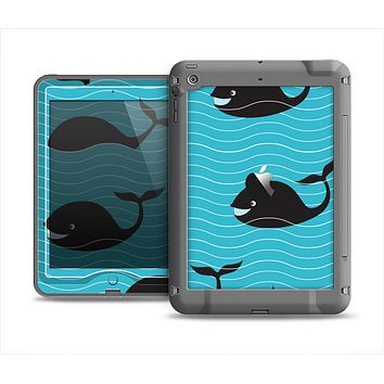The Teal Smiling Black Whale Pattern Apple iPad Mini LifeProof Nuud Case Skin Set