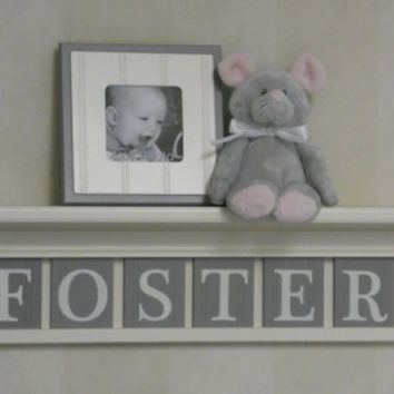 "Baby Boy Room Decoration Name Nursery Decor 30"" Linen White Shelf - 6 Wooden Wall Letters Gray - FOSTER"