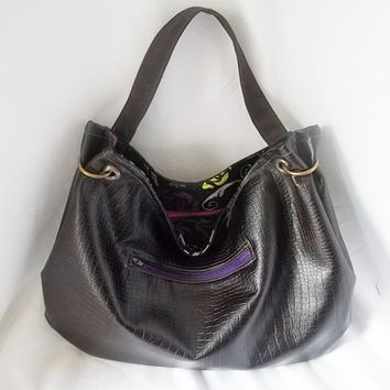 Dark Chocolate Brown Faux Leather Hobo  Animal Friendly by ACAmour