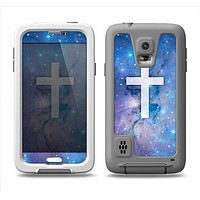 The Vector White Cross v2 over Space Nebula Samsung Galaxy S5 LifeProof Fre Case Skin Set