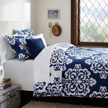 Ikat Medallion Duvet Cover, Full/Queen, Royal Navy