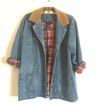 90s Gloria Vanderbilt Denim Jacket Leather Collar Plaid Interior Size PM