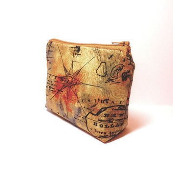 Small Pouch Small Change Purse Small Wallet Small Card Pouch World Travelers Antique Map