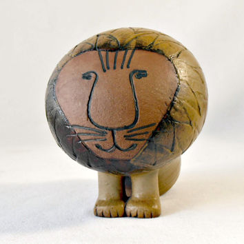 Mid Century Mod Gustavsberg Pottery by Lisa Larson Lion, Danish 1960s Afrika Series Large Lion, Scandinavia Design, Sweden Lion Sculpture