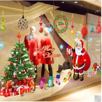 Merry Christmas Xmas Tree Santa Claus PVC Removable Display Window Showcase Decor Home Kid Room Wall Stickers = 1946707780