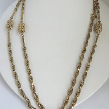 Sarah Coventry Necklace, Vintage Gold Tone Chain, Long Beaded Necklace