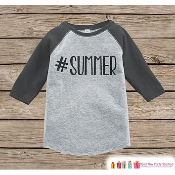 Hashtag Summer Onepiece or Raglan - Summer Outfit For Kids - Grey Baseball Tee or Onepiece - Fun Summer Outfit for Baby, Youth, Toddler