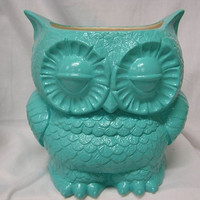 Tootsie Pop Owl Garden Planter  Turquoise by whitedovecrafts