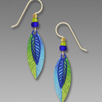 Adajio Earrings - Cobalt Blue Filigree Leaf over Blue and Green UV Leaf